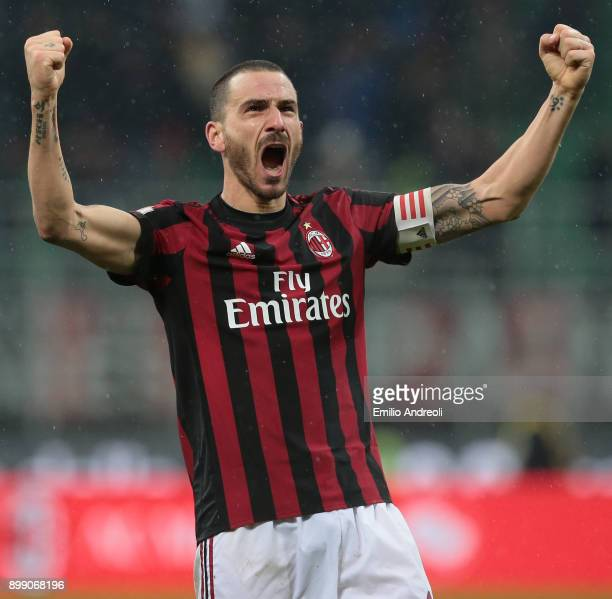 Leonardo Bonucci of AC Milan celebrates the victory at the end of the TIM Cup match between AC Milan and FC Internazionale at Stadio Giuseppe Meazza...