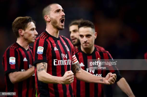Leonardo Bonucci of AC Milan celebrates the victory at the end of the Serie A football match between AC Milan and UC Sampdoria AC Milan won 10 over...