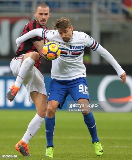 Leonardo Bonucci of AC Milan competes for the ball with Gaston Ramirez of UC Sampdoria during the serie A match between AC Milan and UC Sampdoria at...