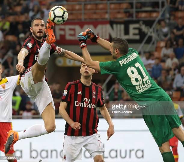 Leonardo Bonucci of AC Milan controls the ball against Christian Puggioni goalkeeper of Benevento Calcio during the serie A match between AC Milan...
