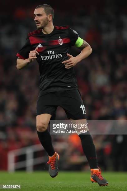Leonardo Bonucci of AC Milan during the UEFA Europa League Round of 16 Second Leg match between Arsenal and AC Milan at Emirates Stadium on March 15...