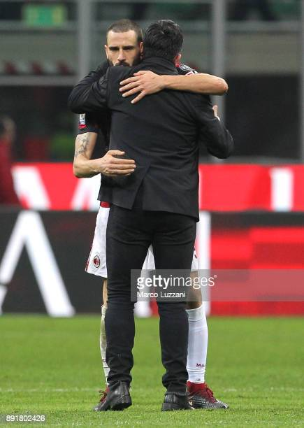 Leonardo Bonucci of AC Milan embraces AC Milan coach Gennaro Gattuso at the end of the Tim Cup match between AC Milan and Hellas Verona FC at Stadio...