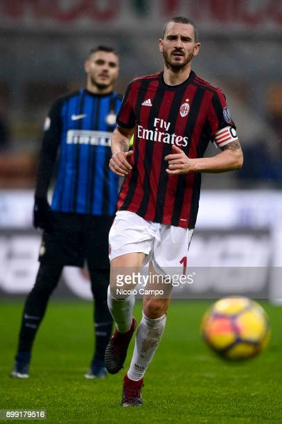 Leonardo Bonucci of AC Milan eyes the ball during the TIM Cup football match between AC Milan and FC Internazionale AC Milan won 10 over FC...