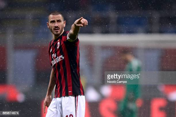 Leonardo Bonucci of AC Milan gestures during the Serie A football match between AC Milan and Bologna FC AC Milan won 21 over Bologna FC