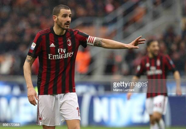 Leonardo Bonucci of AC Milan gestures during the serie A match between AC Milan and AC Chievo Verona at Stadio Giuseppe Meazza on March 18 2018 in...