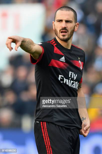 Leonardo Bonucci of AC Milan gestures during the serie A match between Spal and AC Milan at Stadio Paolo Mazza on February 10 2018 in Ferrara Italy