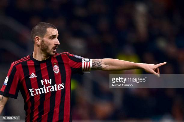 Leonardo Bonucci of AC Milan gestures during the TIM Cup football match between AC Milan and Hellas Verona AC Milan won 30 over Hellas Verona
