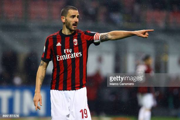 Leonardo Bonucci of Ac Milan gestures during the Tim Cup football match between AC Milan and Fc Internazionale Ac Milan wins 10 over Fc Internazionale