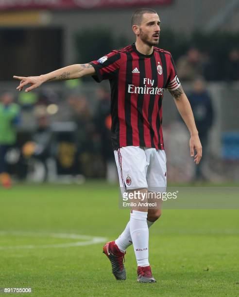 Leonardo Bonucci of AC Milan gestures during the Tim Cup match between AC Milan and Hellas Verona FC at Stadio Giuseppe Meazza on December 13 2017 in...