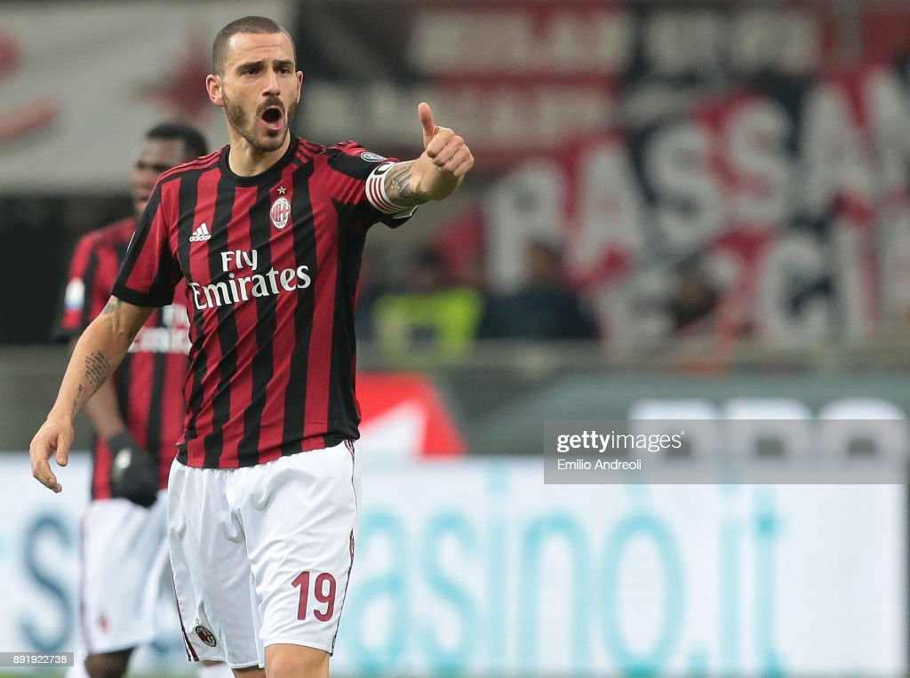 Leonardo Bonucci of AC Milan gestures during the Tim Cup match between AC Milan and Hellas Verona FC at Stadio Giuseppe Meazza on December 13, 2017 in Milan, Italy.