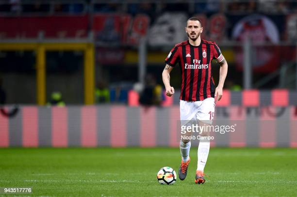 Leonardo Bonucci of AC Milan in action during the Serie A football match between AC Milan ad US Sassuolo The match ended in a 11 tie