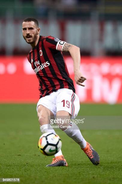 Leonardo Bonucci of AC Milan in action during the Serie A football match between AC Milan and Benevento Calcio Benevento Calcio won 10 over AC Milan