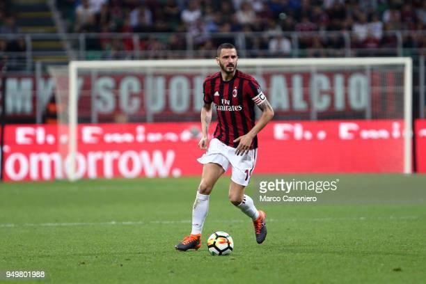 Leonardo Bonucci of Ac Milan in action during the Serie A football match between AC Milan and Benevento Calcio Benevento Calcio wins 10 over Ac Milan