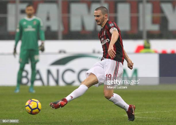 Leonardo Bonucci of AC Milan in action during the serie A match between AC Milan and FC Crotone at Stadio Giuseppe Meazza on January 6 2018 in Milan...