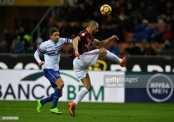 Leonardo Bonucci of AC Milan in action during the serie A match between AC Milan and UC Sampdoria at Stadio Giuseppe Meazza on February 18 2018 in...