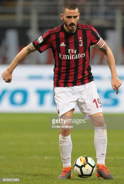 Leonardo Bonucci of AC Milan in action during the serie A match between AC Milan and US Sassuolo at Stadio Giuseppe Meazza on April 8 2018 in Milan...