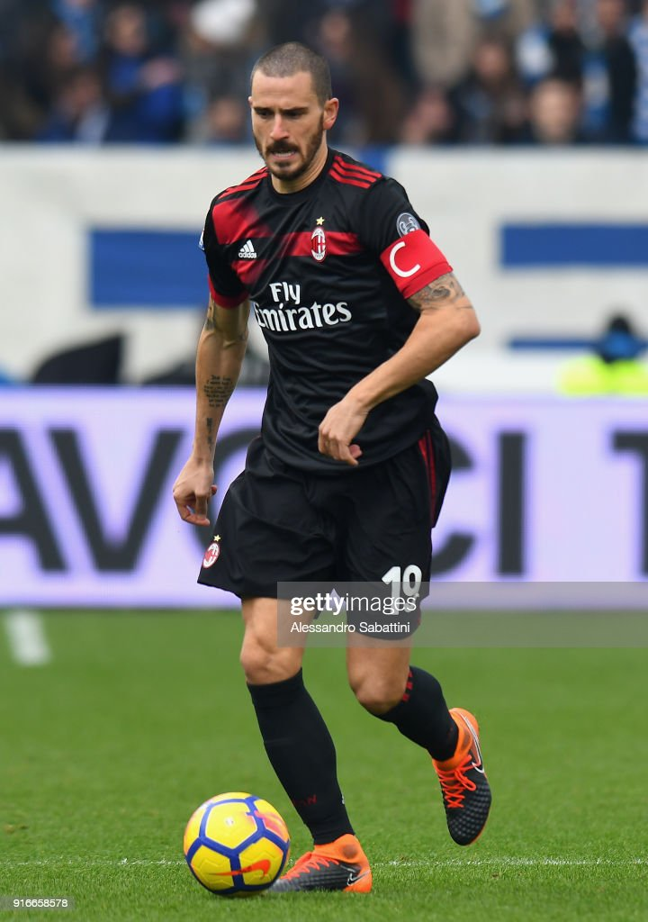 Leonardo Bonucci of AC Milan in action during the serie A match between Spal and AC Milan at Stadio Paolo Mazza on February 10, 2018 in Ferrara, Italy.