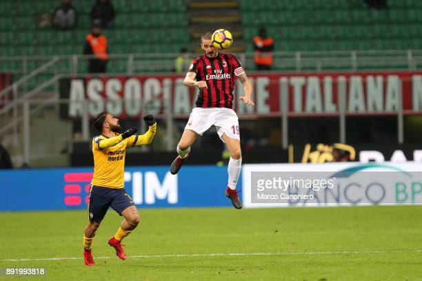 Leonardo Bonucci of Ac Milan in action during the Tim Cup football match between AC Milan and Hellas Verona Fc Ac Milan wins 30 over Hellas Verona Fc