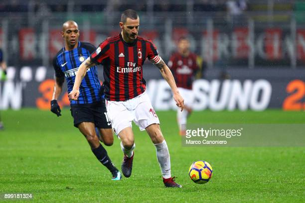 Leonardo Bonucci of Ac Milan in action during the Tim Cup football match between AC Milan and Fc Internazionale Ac Milan wins 10 over Fc...