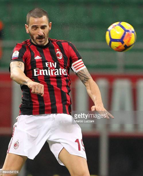 Leonardo Bonucci of AC Milan in action during the Tim Cup match between AC Milan and Hellas Verona FC at Stadio Giuseppe Meazza on December 13 2017...