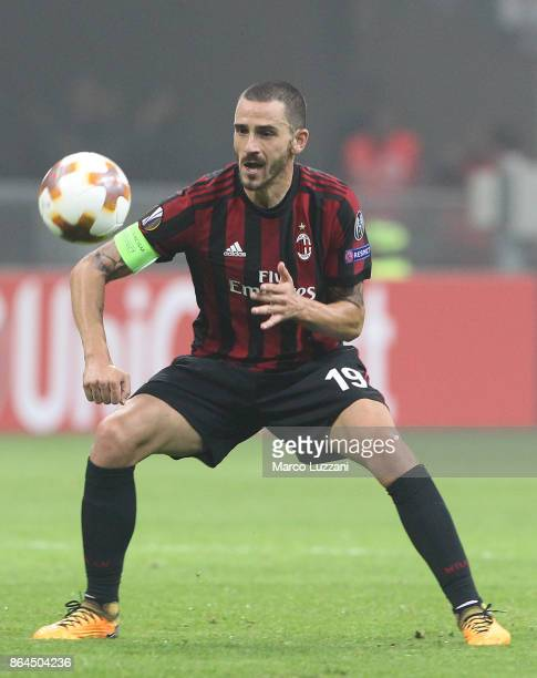Leonardo Bonucci of AC Milan in action during the UEFA Europa League group D match between AC Milan and AEK Athens at Stadio Giuseppe Meazza on...