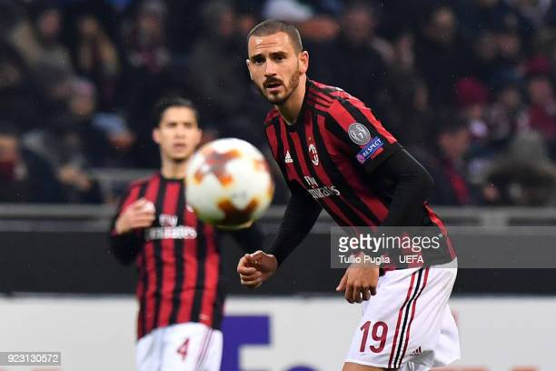 Leonardo Bonucci of AC Milan in action during UEFA Europa League Round of 32 match between AC Milan and Ludogorets Razgrad at the San Siro on...