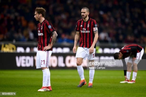 Leonardo Bonucci of AC Milan looks dejected during the Serie A football match between AC Milan and UC Sampdoria AC Milan won 10 over UC Sampdoria