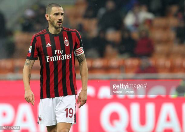 Leonardo Bonucci of AC Milan looks on during the Serie A match between AC Milan and Bologna FC at Stadio Giuseppe Meazza on December 10 2017 in Milan...