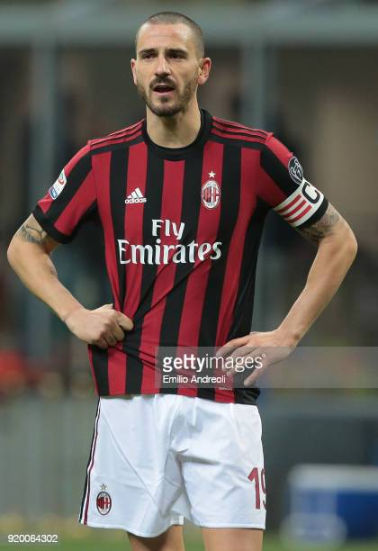 Leonardo Bonucci of AC Milan looks on during the serie A match between AC Milan and UC Sampdoria at Stadio Giuseppe Meazza on February 18 2018 in...