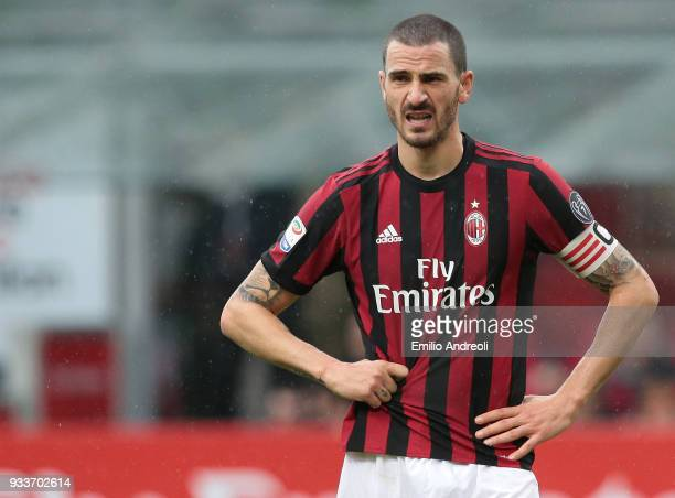 Leonardo Bonucci of AC Milan looks on during the serie A match between AC Milan and AC Chievo Verona at Stadio Giuseppe Meazza on March 18 2018 in...