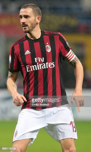 Leonardo Bonucci of AC Milan looks on during the TIM Cup match between AC Milan and FC Internazionale at Stadio Giuseppe Meazza on December 27 2017...