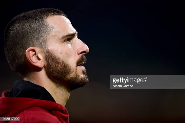 Leonardo Bonucci of AC Milan looks on prior to the Serie A football match between AC Milan ad US Sassuolo The match ended in a 11 tie