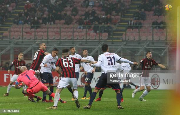 Leonardo Bonucci of AC Milan scores the opening goal during the serie A match between AC Milan and FC Crotone at Stadio Giuseppe Meazza on January 6...