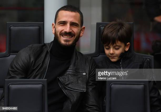 Leonardo Bonucci of AC Milan sits with his son Lorenzo Bonucci before the serie A match between AC Milan and SSC Napoli at Stadio Giuseppe Meazza on...