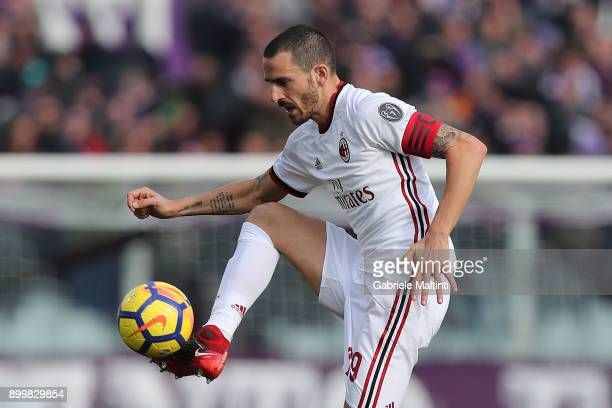 Leonardo Bonucci of AS Milan in action during the serie A match between ACF Fiorentina and AC Milan at Stadio Artemio Franchi on December 30 2017 in...