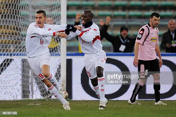 Leonardo Bonucci of Bari celebrates the opening goal during the Serie A match between Bari and Palermo at Stadio San Nicola on January 30 2010 in...