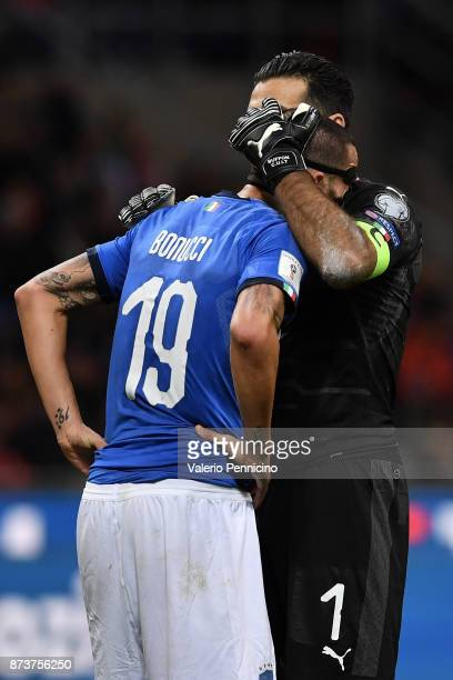 Leonardo Bonucci of Italy and Gianluigi Buffon of Italy goalkeeper during the FIFA 2018 World Cup Qualifier PlayOff Second Leg between Italy and...