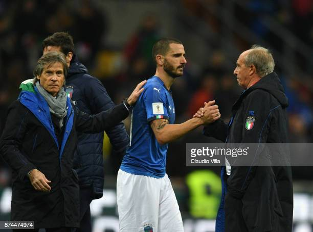 Leonardo Bonucci of Italy and Head coach Italy Gian Piero Ventura dejected at the end of the FIFA 2018 World Cup Qualifier PlayOff Second Leg between...