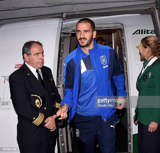 Leonardo Bonucci of Italy arrives to Baku Airport on October 8, 2015 in Baku, Azerbaijan.