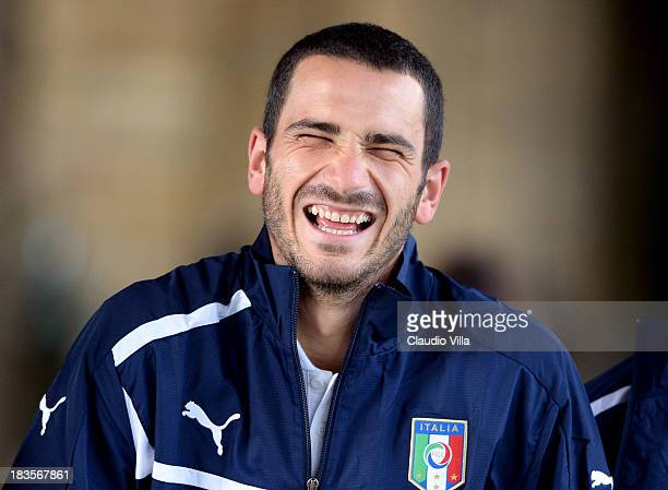 Leonardo Bonucci of Italy attends a training session at Coverciano on October 7 2013 in Florence Italy