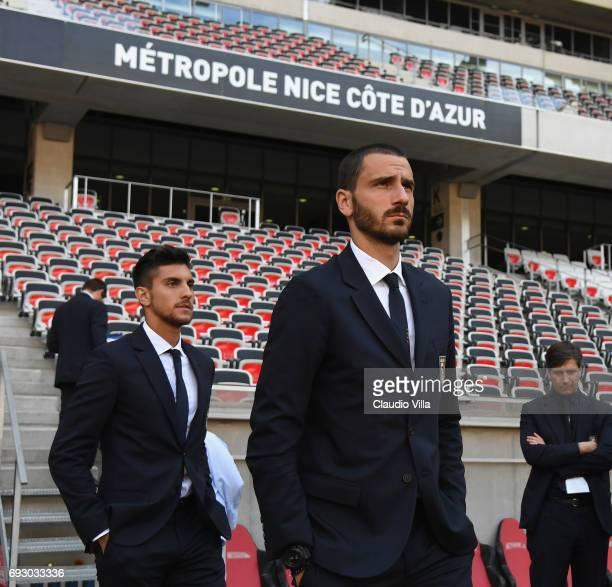 Leonardo Bonucci of Italy attends Italy walk around at Allianz Riviera Stadium on June 6 2017 in Nice France