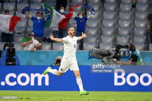 Leonardo Bonucci of Italy celebrates after scoring a goal which is later disallowed for offside during the UEFA Euro 2020 Championship Quarter-final...
