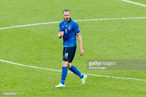 Leonardo Bonucci of Italy celebrates after scoring his team's first goal during the UEFA Euro 2020 Championship Final between Italy and England at...