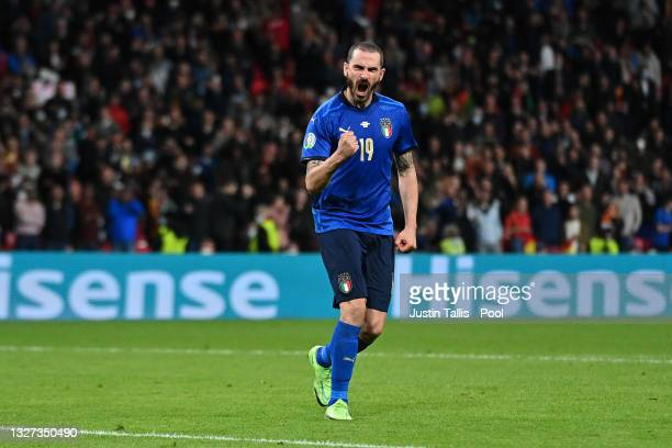 Leonardo Bonucci of Italy celebrates after scoring his team's third penalty during a penalty shoot in during the UEFA Euro 2020 Championship...