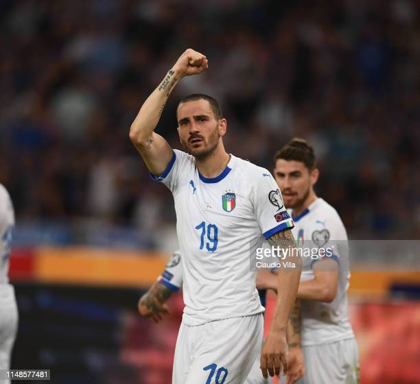 Leonardo Bonucci of Italy celebrates after scoring the goal during the UEFA Euro 2020 Qualifier between Greece and Italy on June 8, 2019 in Athens,...