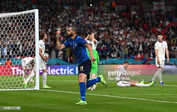 Leonardo Bonucci of Italy celebrates after scoring their side's first goal during the UEFA Euro 2020 Championship Final between Italy and England at...