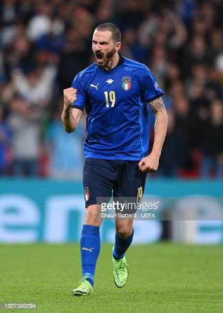 Leonardo Bonucci of Italy celebrates after scoring their side's third penalty in a penalty shoot out during the UEFA Euro 2020 Championship...
