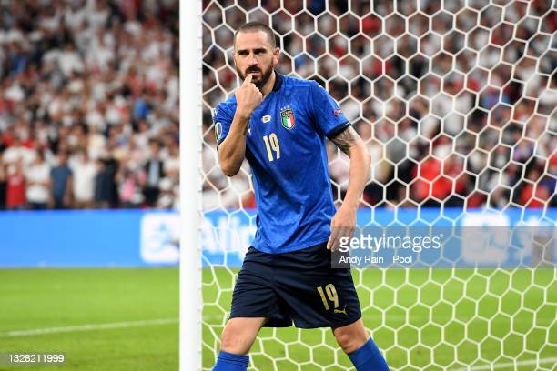 Leonardo Bonucci of Italy celebrates after scoring their team's first goal during the UEFA Euro 2020 Championship Final between Italy and England at...