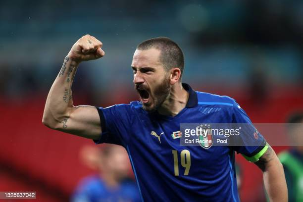 Leonardo Bonucci of Italy celebrates after victory in the UEFA Euro 2020 Championship Round of 16 match between Italy and Austria at Wembley Stadium...
