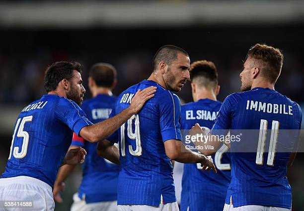 Leonardo Bonucci of Italy celebrates during the international friendly match between Italy and Finland on June 6 2016 in Verona Italy